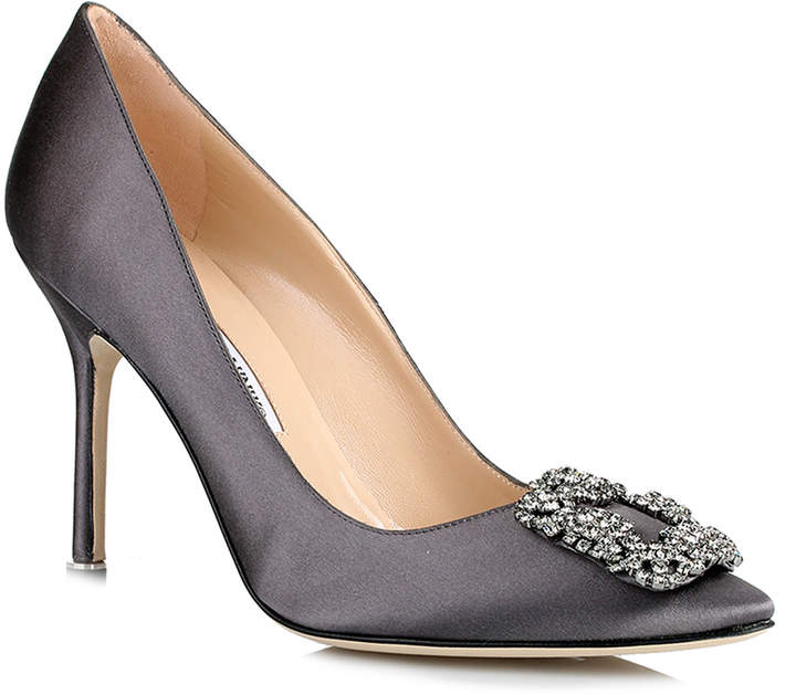 Manolo Blahnik Hangisi 105 dark grey satin pump