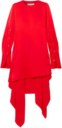 Monse Asymmetric Open-back Draped Satin Mini Dress