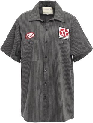 R 13 Appliqued Pinstriped Stretch-cotton Poplin Shirt