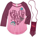 Arizona 3/4 Sleeve Raglan Tee with Patches and Purse - Girls 7-16 and Plus