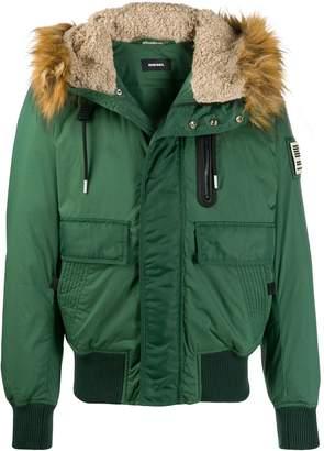 Diesel faux-fur hood padded jacket
