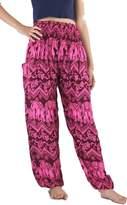 NaLuck Women's Boho Hippie Elephant Jumpsuit Smocked Waist Yoga Harem Pants PJ26