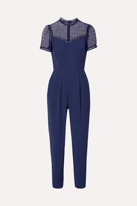 MICHAEL Michael Kors Guipure Lace-paneled Cady Jumpsuit - Navy