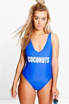 Boohoo Plus Lottie Slogan Swimsuit