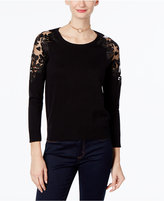 INC International Concepts Petite Lace-Shoulder Top, Only at Macy's