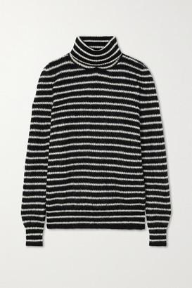 Saint Laurent Striped Mohair-blend Turtleneck Sweater - Black