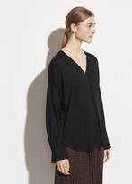 Long Sleeve Satin V-neck Popover