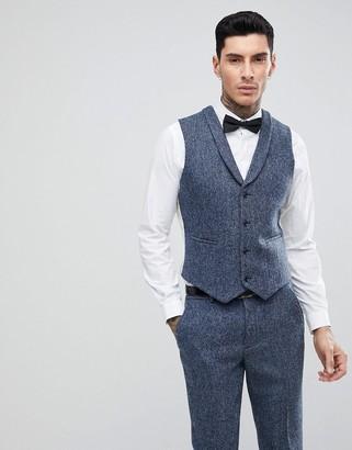 Asos Design Slim Suit Vest in 100% Wool Harris Tweed In Blue Mini Check
