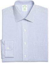 Brooks Brothers Men's Milano Extra Slim-Fit Non-Iron Light Blue Plaid Dress Shirt
