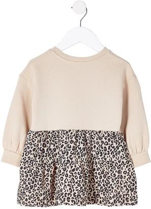River Island Mini Girls Leopard Sweat Dress -Tan