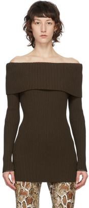 Proenza Schouler Brown Off-Shoulder Rib Sweater