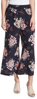 Rebecca Taylor Phlox Floral-Print Silk Smocked Wide-Leg Pants, Navy