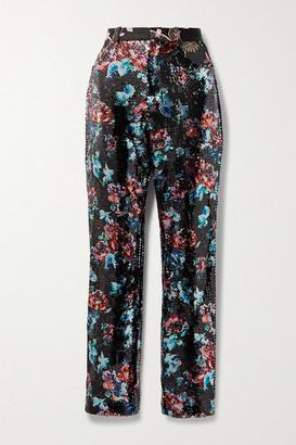 Rodarte Brocade-trimmed Sequined Tulle Straight-leg Pants - Black