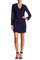 Jessica Simpson V-Neck Front Tie Lace Knit Long Sleeve Dress