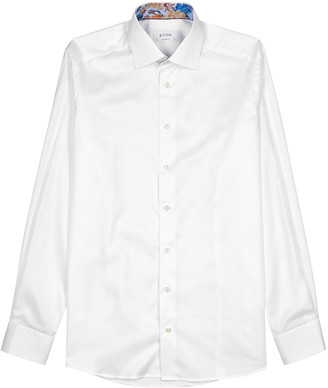 Eton White contemporary cotton-blend shirt