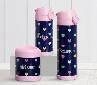Pottery Barn Kids Mackenzie Navy Pink Multi Hearts Hot & Cold Container