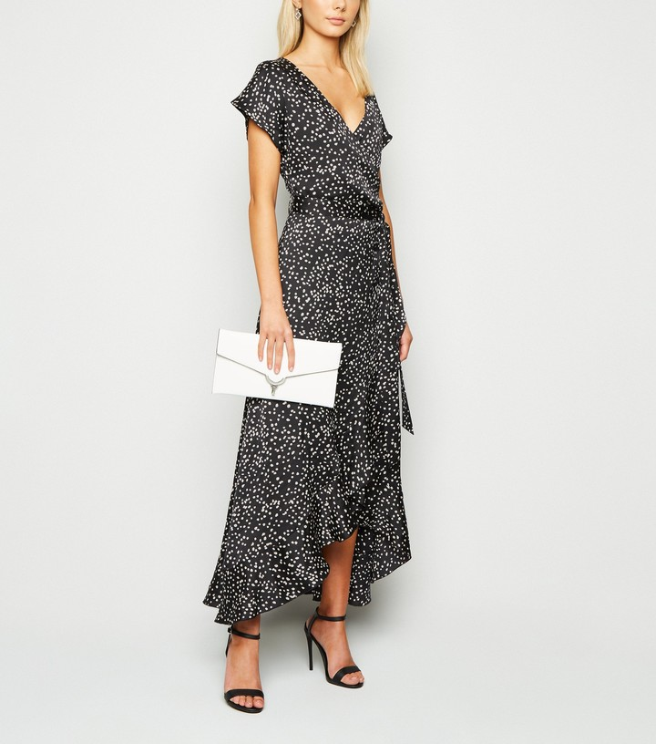 Thumbnail for your product : New Look Satin Spot Ruffle Wrap Midi Dress