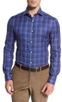 Isaia Madras Check Sport Shirt, Blue