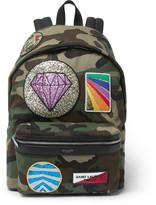 Saint Laurent City Appliquéd Camouflage-Print Twill Backpack