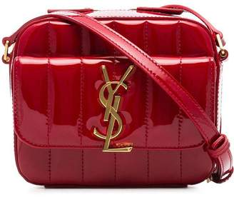 Saint Laurent pillarbox red Vicky quilted patent leather camera bag