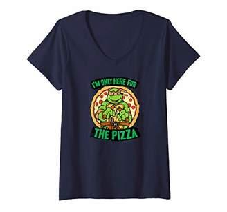 Nickelodeon Womens Teenage Mutant Ninja Turtles Here for Pizza V-Neck T-Shirt