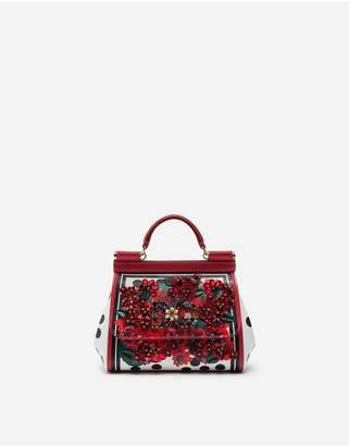 Dolce & Gabbana Mini Sicily Bag In Portofino-Print Calfskin With Embroidery