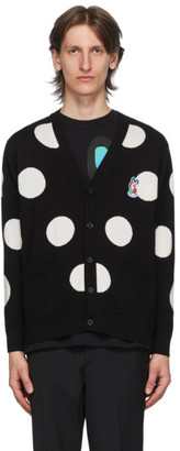 MAISON KITSUNÉ Black Wool Dots ACIDE Fox Patch Cardigan