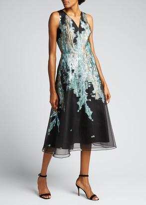 Rickie Freeman For Teri Jon V-Neck Sleeveless Metallic Jacquard A-Line Dress