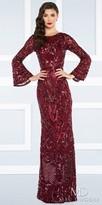 Mac Duggal Open Back Bell Sleeve Fully Beaded Column Evening Dress