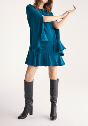 Paisie Cape Sleeve Swing Dress with Peplum Hem in Turquoise