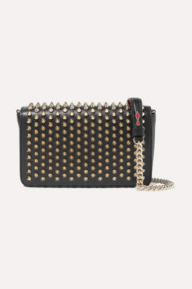Christian Louboutin Zoompouch Spiked Leather Shoulder Bag - Black