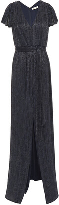 Halston Belted Metallic Knitted Gown