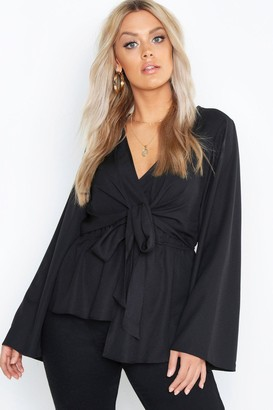 boohoo Plus Twist Front Blouse