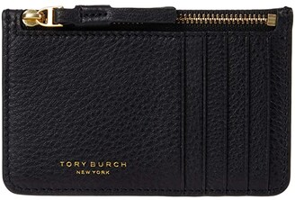 Tory Burch Perry Top Zip Card Case (Black) Handbags