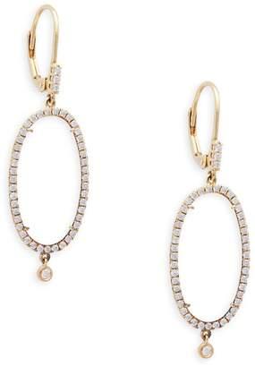 Meira T Diamond 14K Yellow Gold Jade Oval Drop Earrings
