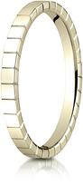 Ice 14K Gold 2mm High Polished Carved Design Wedding Band