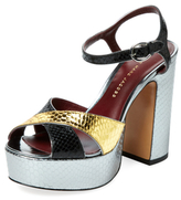 Marc by Marc Jacobs Jerry Embossed Metallic Leather Platform Sandal