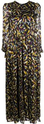 Goat Kitty leaf-print maxi dress