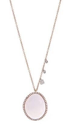 Meira T 14K Rose Gold Chalcedony & Pave Diamond Halo Pendant Necklace