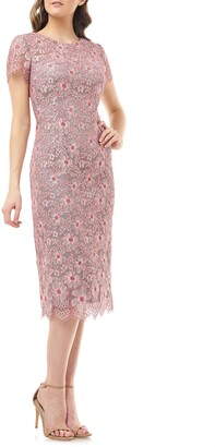 JS Collections Floral Lace Cocktail Dress