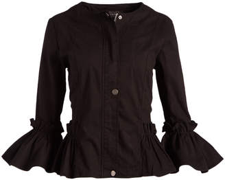 Live A Little Women's BLACK - Black Ruffle-Sleeve Lightweight Military Jacket - Women