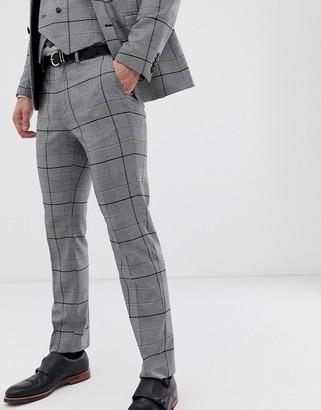 Burton Menswear wedding slim fit suit trousers in black check