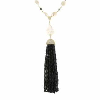 Cosanuova Gold Sterling Silver Pearl & Onyx Tassel Necklace