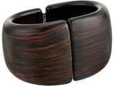 Kenneth Jay Lane Dark Wood Front Closure Hinged Cuff Bracelets