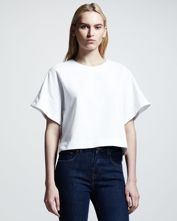 Victoria Beckham Denim Boxy Crop Tee, White