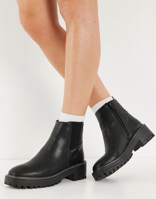 New Look chunky chelsea boot with texture detail in black