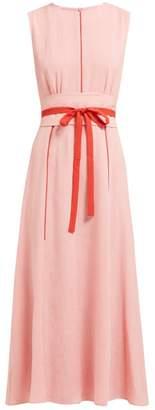 Cefinn - Tie-waist Pleated Voile Midi Dress - Womens - Pink Multi
