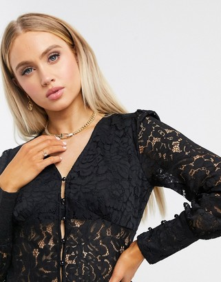 Femme Luxe button through all over lace shirt in black