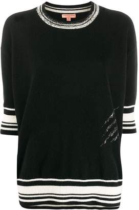 Ermanno Scervino cashmere striped trim top