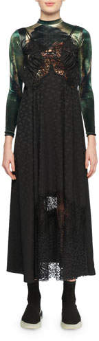 Stella McCartney JH Lynch Tina Long-Sleeve Velvet Top Attached Floral-Print & Lace Silk Cami Dress